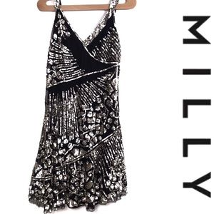 Milly Black & Gold Sequin Beaded Cocktail Dress 6
